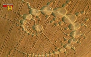 Trails of Fibonacci footprints at Stonehenge: 'Julia Set' cropcircle teatime July 1996