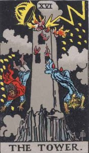 Rider-Waite tarot card The Tower (1909)