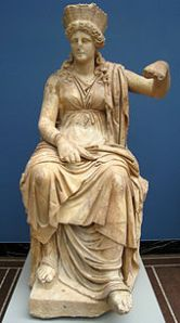 Cybele, adopted as Mother-protectrix of Rome's 'city and fields' wore the Phrygian helmet-crown of warrior goddess