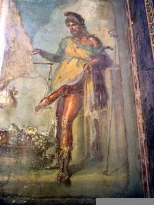 Greco-Roman god Priapus, rescued fresco from Pompeii c.AD79, Archaeological Museum of Naples