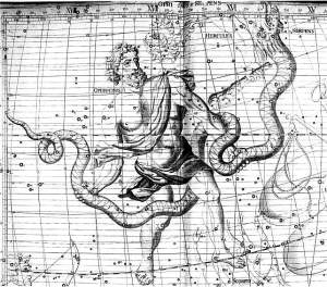 Constellation Ophiuchus, Flamsteed Celestial Atlas, 1776