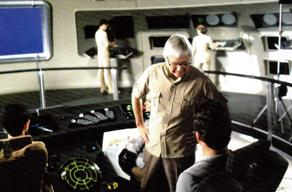 Robert Wise directing actors on set of USS Enterprise bridge, 1979