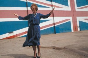 Margaret Thatcher, new female Prime Minister of Britain launches Conservative manifesto. Isle of Wight May 1983