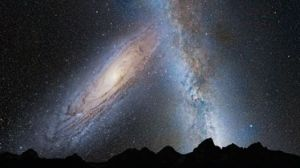 Our own Galaxy merging with Andromeda; note 'blooming' along our edges :)