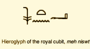 Egyptian Cubit: measure of forearm, used interchangeably with Roman foot 'pedes'