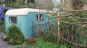 Blue Findhorn caravan where Dorothy Mclean, Eileen and Peter Caddy meditated, lived and grew cabbages