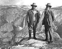 Naturalist John Muir took US President Teddy Roosevelt camping overnight in Yosemite, 1906
