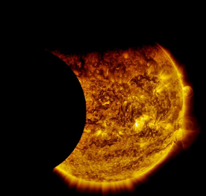 Earth and Moon in Eclipse–rarer than 18.6-year wobble at Standstill—courtesy SOHO