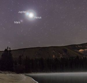 Brilliant Venus, in conjunction with Jupiter above, and dimmer Mars below, 4:45a.m. October 25, 2015 looking East