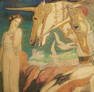 Mermaid or Sea Maiden with Unicorn wave-riders