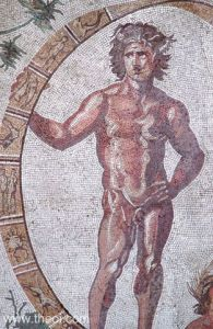 Khronos, Father Time—in his human persona Aeon—holds zodiac wheel in balance for human race